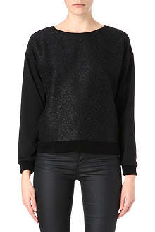 WAREHOUSE Black jacquard sweatshirt