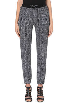WAREHOUSE Herringbone-print crepe jogging bottoms