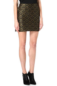 WAREHOUSE Gold jacquard mini skirt