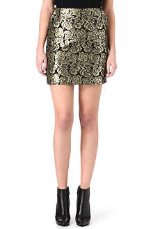 WAREHOUSE Gold jacquard skirt