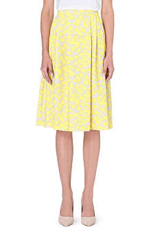 WAREHOUSE Pastel animal midi skirt