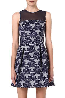 WAREHOUSE Floral jacquard dress