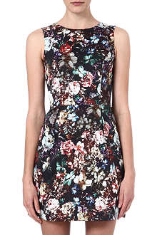 WAREHOUSE Dark floral print dress