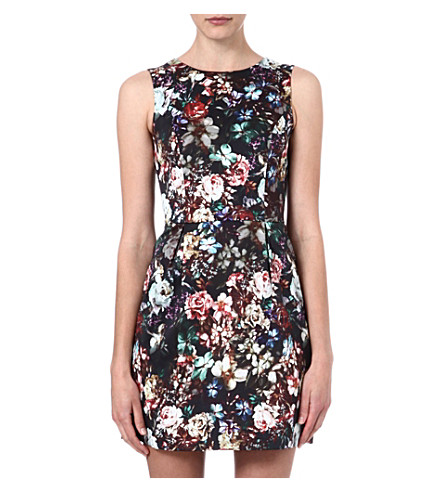 WAREHOUSE Dark floral print dress (Multi