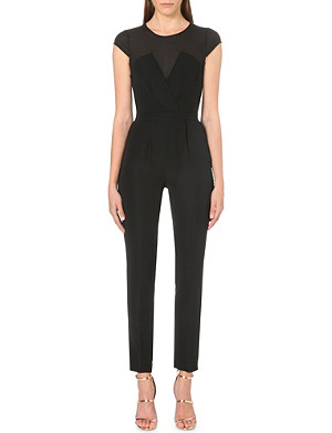 WAREHOUSE Sheer-panel stretch-crepe jumpsuit