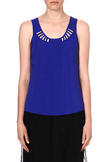 WAREHOUSE Lattice-detail sleeveless top