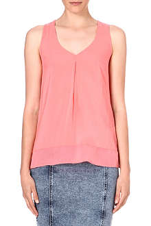 WAREHOUSE Chiffon dipped hem sleeveless top