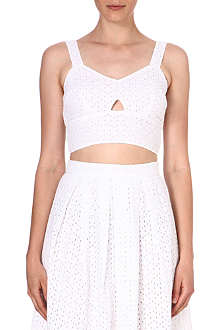 WAREHOUSE Broiderie anglaise cropped top