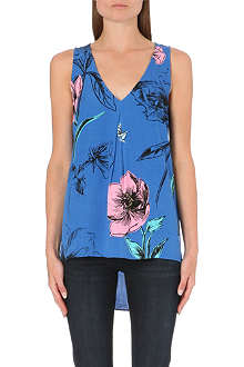 WAREHOUSE Oversize floral dipped hem top