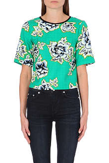 WAREHOUSE Stencil floral textured top