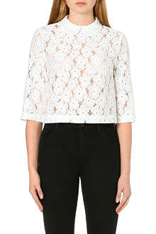 WAREHOUSE Lace cropped collared top
