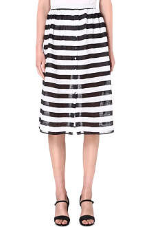 WAREHOUSE Striped midi skirt