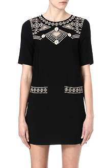 WAREHOUSE Embroidered tunic dress