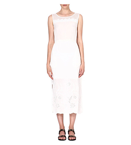 WAREHOUSE Floral-embroidered midi dress (Cream