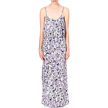 WAREHOUSE Fluro pansy-print maxi dress (Multi