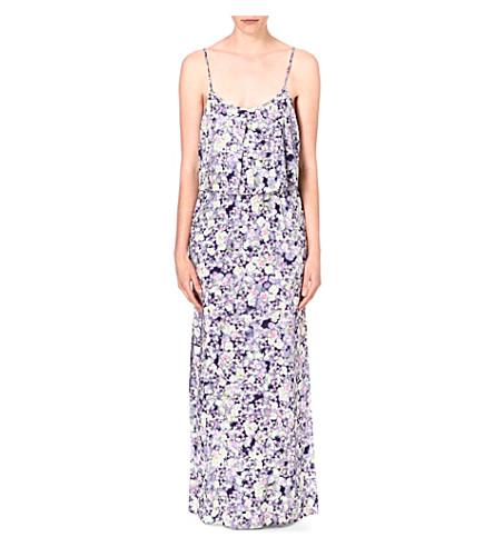WAREHOUSE Fluro pansy-print maxi dress (Multi