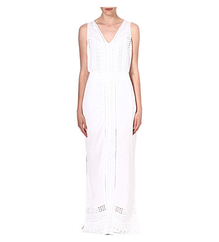 WAREHOUSE Crochet maxi dress (White