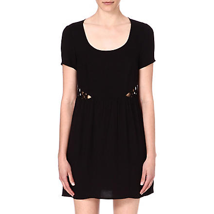 WAREHOUSE Lattice-detail dress (Black