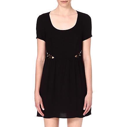 WAREHOUSE Lattice-detail dress (Black