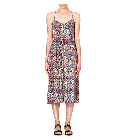 WAREHOUSE Bright floral midi dress (Multi