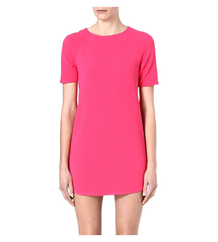 WAREHOUSE Textured crepe shift dress (Bright+pink