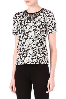 WAREHOUSE Jewel-neckline jacquard top