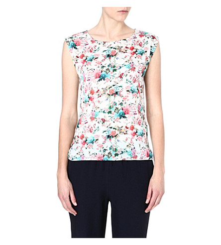 WAREHOUSE Japanese floral-print top (Cream