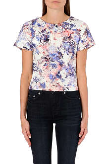 WAREHOUSE Scuba floral print co-ord top