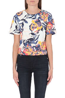 WAREHOUSE Floral brushstroke print co-ord top
