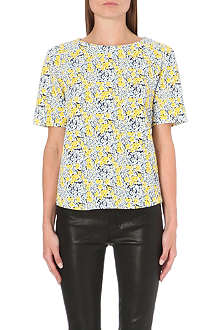 WAREHOUSE Floral textured crepe top
