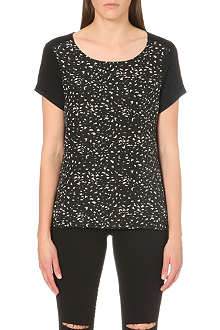 WAREHOUSE Mini shadow print woven front top