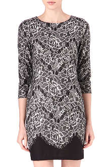 WAREHOUSE Lace-print dress