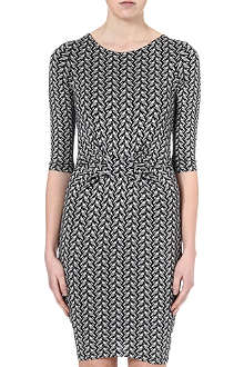 WAREHOUSE Geometric parrot-print dress