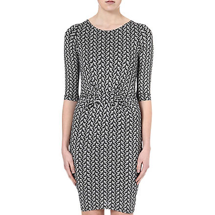 WAREHOUSE Geometric parrot-print dress (Navy
