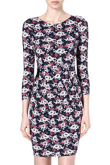 WAREHOUSE Rose floral jersey dress
