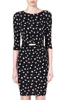 WAREHOUSE Belted rose spot print dress
