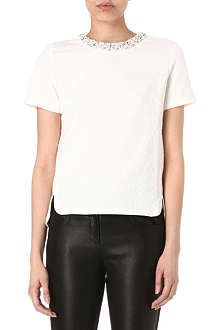WAREHOUSE Jacquard jewel neckline t-shirt