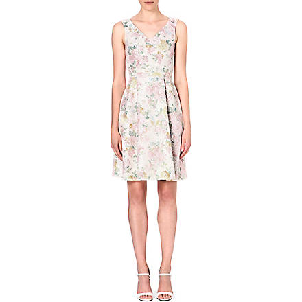 WAREHOUSE Floral-print lace dress (Multi