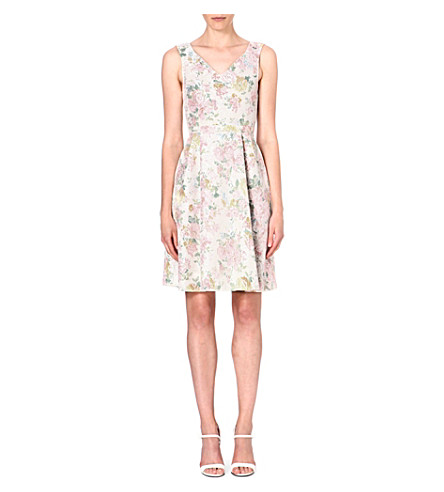 WAREHOUSE Floral-print lace dress (None
