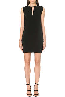 WAREHOUSE Faux leather trim notch neck dress