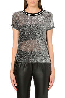 WAREHOUSE Sparkle rib trim t-shirt