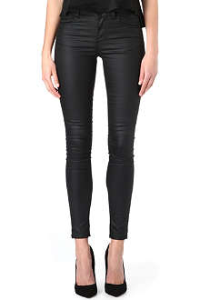 WAREHOUSE Coated skinny mid-rise jeans