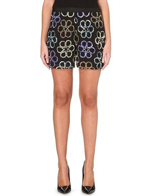 WAREHOUSE Sequin-embellished floral shorts