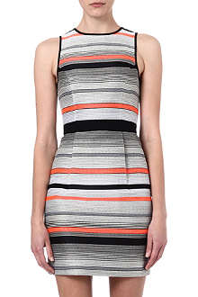 WAREHOUSE Stripe jacquard dress