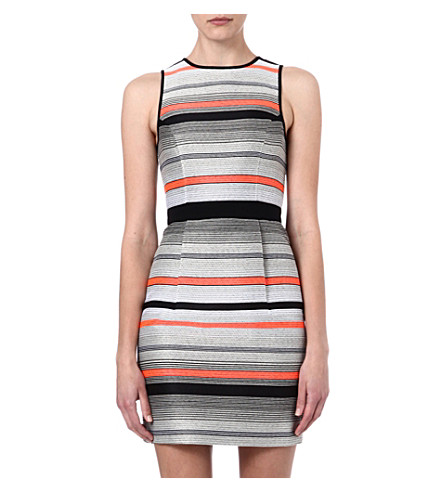 WAREHOUSE Stripe jacquard dress (Multi
