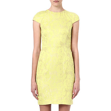 WAREHOUSE Contrast jacquard pencil dress (Lime