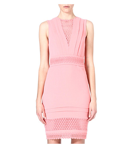 WAREHOUSE Broderie Anglaise bodycon dress (Peach