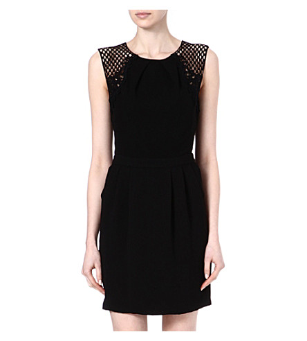 WAREHOUSE Grid lace dress (Black