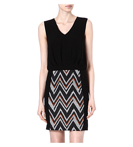 WAREHOUSE Chevron dress (Black