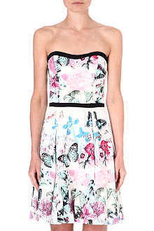 WAREHOUSE Butterfly print bandeau dress